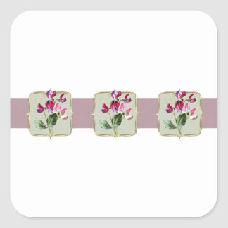 Sweetpea Vintage Flowers Wide Square Sticker