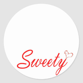 sweety, playful, fun, loving, caring,peace, heart round sticker