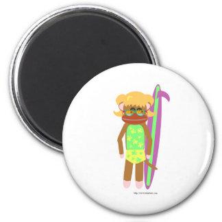 Swell Surfer Sock Monkey Girl Magnet