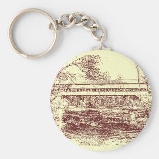 Swift River Covered Bridge Sketch Basic Round Button Keychain