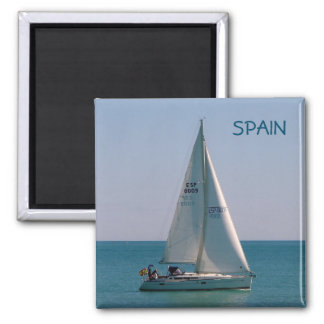 Swift-sailing boat in the Mediterranean Square Magnet