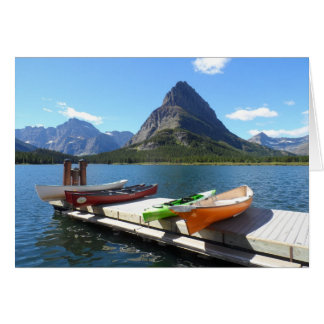 Swiftcurrent Lake Boats- Glacier National Park Card