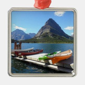 Swiftcurrent Lake Boats- Glacier National Park Metal Ornament