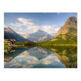 Swiftcurrent Lake with Many Glacier hotel and Postcard