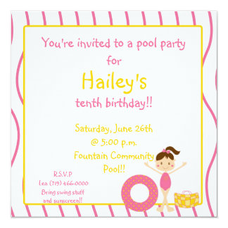swim bday party, You're invited to a pool  ... Custom Announcements