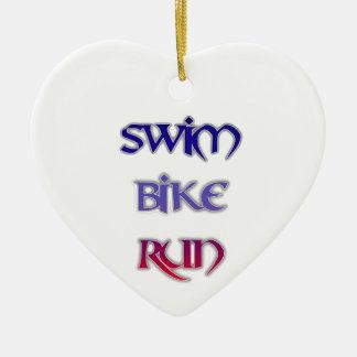 Swim Bike Run Ceramic Heart Ornament