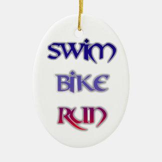 Swim Bike Run Ceramic Oval Ornament