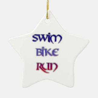 Swim Bike Run Ceramic Star Ornament