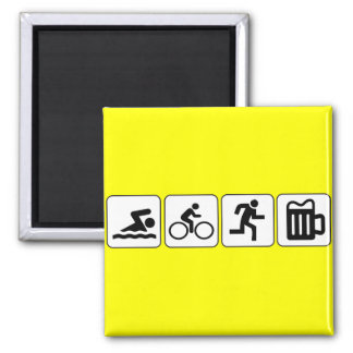 Swim Bike Run Drink Square Magnet