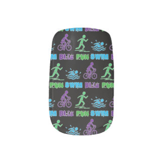 Swim Bike Run Ironman Triathlon Race Triathlete Minx Nail Art
