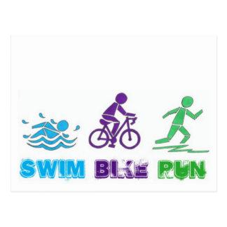 Swim Bike Run Ironman Triathlon Race Triathlete Postcard