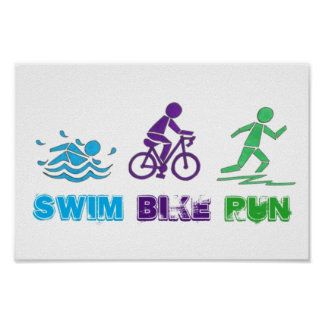 Swim Bike Run Ironman Triathlon Race Triathlete Poster