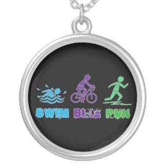 Swim Bike Run Ironman Triathlon Race Triathlete Silver Plated Necklace