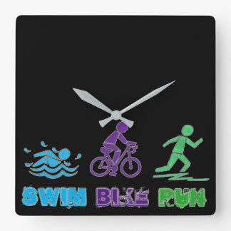 Swim Bike Run Ironman Triathlon Race Triathlete Square Wall Clock