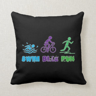 Swim Bike Run Ironman Triathlon Race Triathlete Throw Pillow