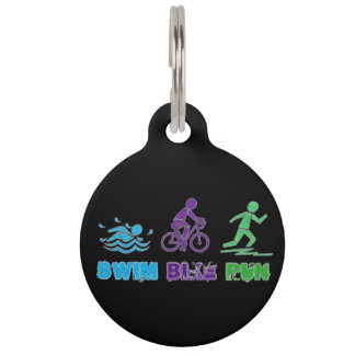 Swim Bike Run Marathon Triathlon Ironman Race Pet Tag
