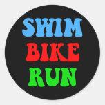 Swim Bike Run Round Stickers