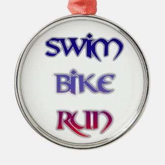 Swim Bike Run Silver-Colored Round Ornament