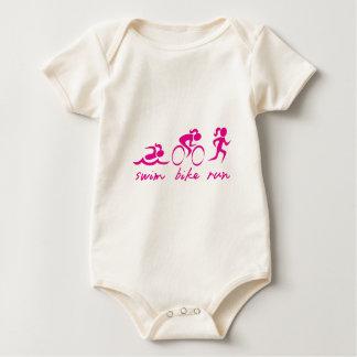 Swim Bike Run Tri Girl Baby Bodysuit
