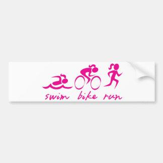 Swim Bike Run Tri Girl Bumper Sticker