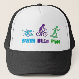 Swim Bike Run Triathlon Triathlete Ironman Race Trucker Hat