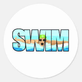 Swim Butterfly Round Sticker