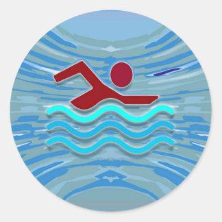 Swim Club Swimmer Exercise Fitness NVN254 Swimming Classic Round Sticker