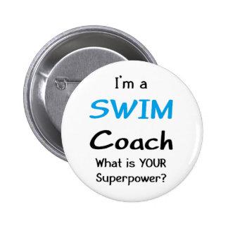 Swim coach 2 inch round button