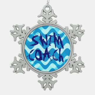 SWIM COACH PEWTER SNOWFLAKE ORNAMENT