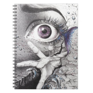 """Swim"" eye surreal drawing Photo spiral notebook"