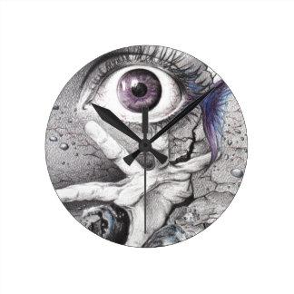 """Swim"" eye surreal drawing Wall clock"