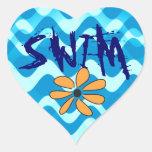 SWIM Flower Heart Sticker