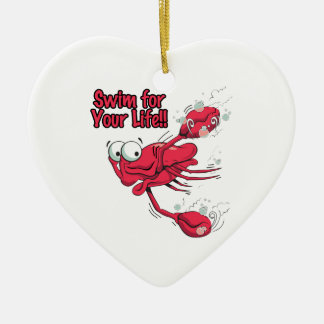 swim for your life scared swmming crab ceramic ornament