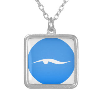 swim_in_Blue2Swimming logo on T-shirt Silver Plated Necklace