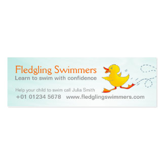 Swim instructor skinny business promotion card mini business card