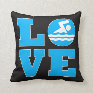 Swim Love Black and Blue Swimmer's Throw Pillow