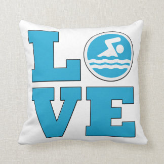 Swim Love Throw Pillow for Competitive Swimmers