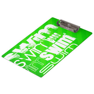 Swim; Neon Green Stripes Clipboard