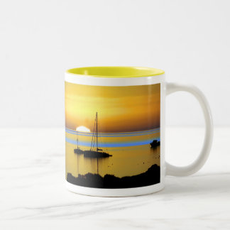 Swim out to it - Yellow  by TDGallery Two-Tone Coffee Mug