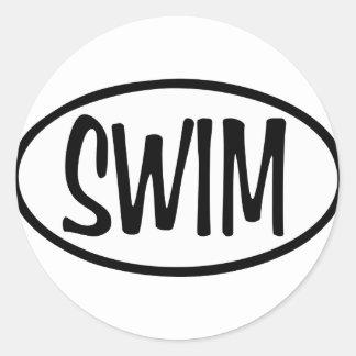 swim oval classic round sticker