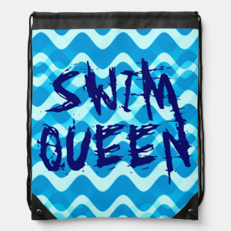 SWIM QUEEN Drawstring Backpack Cinch Bag