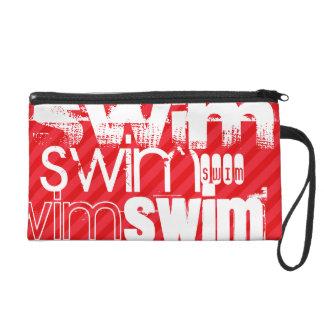 Swim; Scarlet Red Stripes Wristlet