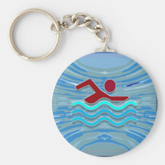 SWIM Swimmer Love Heart Pink Red Pool NVN695 FUN Basic Round Button Keychain