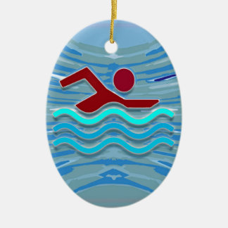 SWIM Swimmer Love Heart Pink Red Pool NVN695 FUN Ceramic Oval Ornament