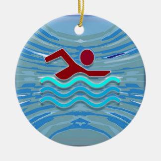 SWIM Swimmer Love Heart Pink Red Pool NVN695 FUN Round Ceramic Ornament