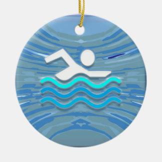 SWIM Swimmer Success Dive Plunge Success NVN238 Round Ceramic Ornament