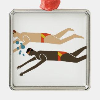 Swim Team Silver-Colored Square Ornament