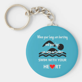 Swim with heart motivational sports blue keychain