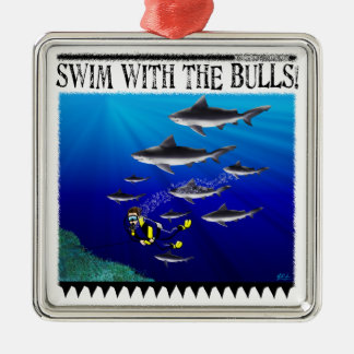 Swim with the bulls Ornament
