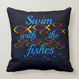 Swim with the fishes throw pillow